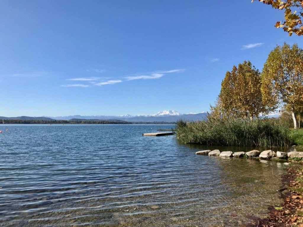 Lake Varese and Mount Rosa with snow seen from Schiranna